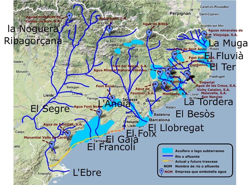 Mapa de Cataluña con los ríos, afluentes, acuíferos y nombres de plantas embotelladoras