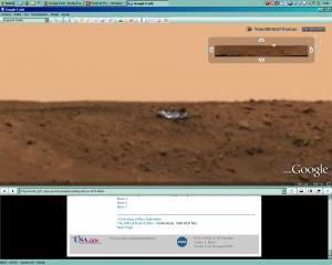 Objeto extraño en Marte (¿OVNI?), que al principio pensaba que era parte del robot explorador.