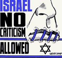 Pegatina denunciando que en Israel no se permite la crítica.