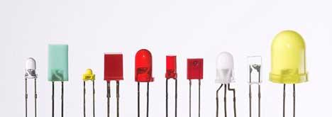 Ejemplos de LEDs típicos utilizados en los aparatos electrónicos.