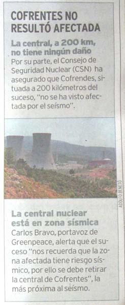 Diario Què!, viernes 13 mayo 2011. Noticia sobre la central nuclear de Cofrentes y el terremoto de Lorca.