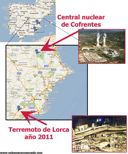 Mapa terremoto de Lorca y Central Nuclear de Cofrentes