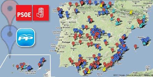 Mapa de corrupción política PP, PSOE y otros, en España