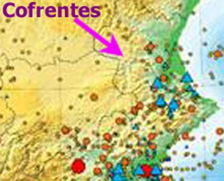 Mapa de la central nuclear de Cofrentes y terremotos cercanos