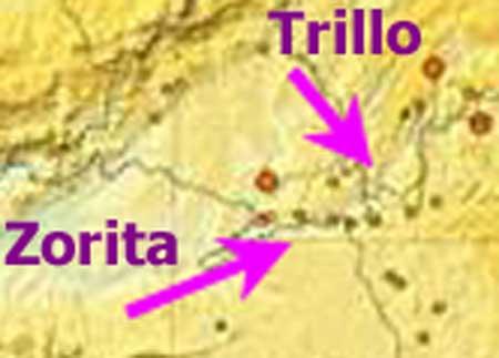 Mapa central nuclear de Trillo y la antigua Zorita, con terremotos cercanos