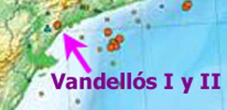 Mapa de la central nuclear de Vandellós y los terremotos cercanos
