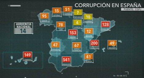 Corrupció en España por autonomías - Noviembre 2014