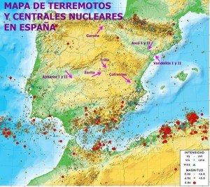 Mapa de centrales nucleares y terremotos en España