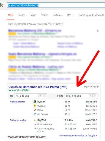 buscador comparador de vuelos de Google