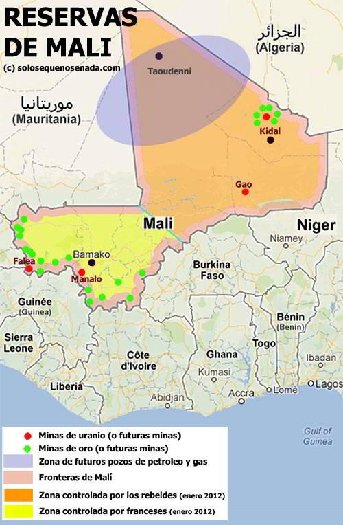 Mapa de recursos de Malí, oro, uranio y petroleo, año 2013